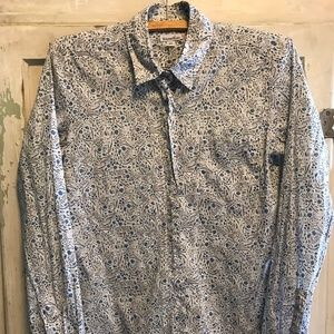 Liberty-style floral print long-sleeve button-down